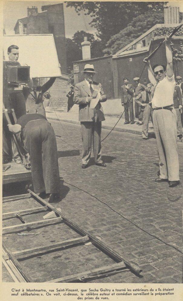 """Tournage de """"Ils étaient 9 célibataires"""" de Guitry (Pour Vous 06.09.1939)"""