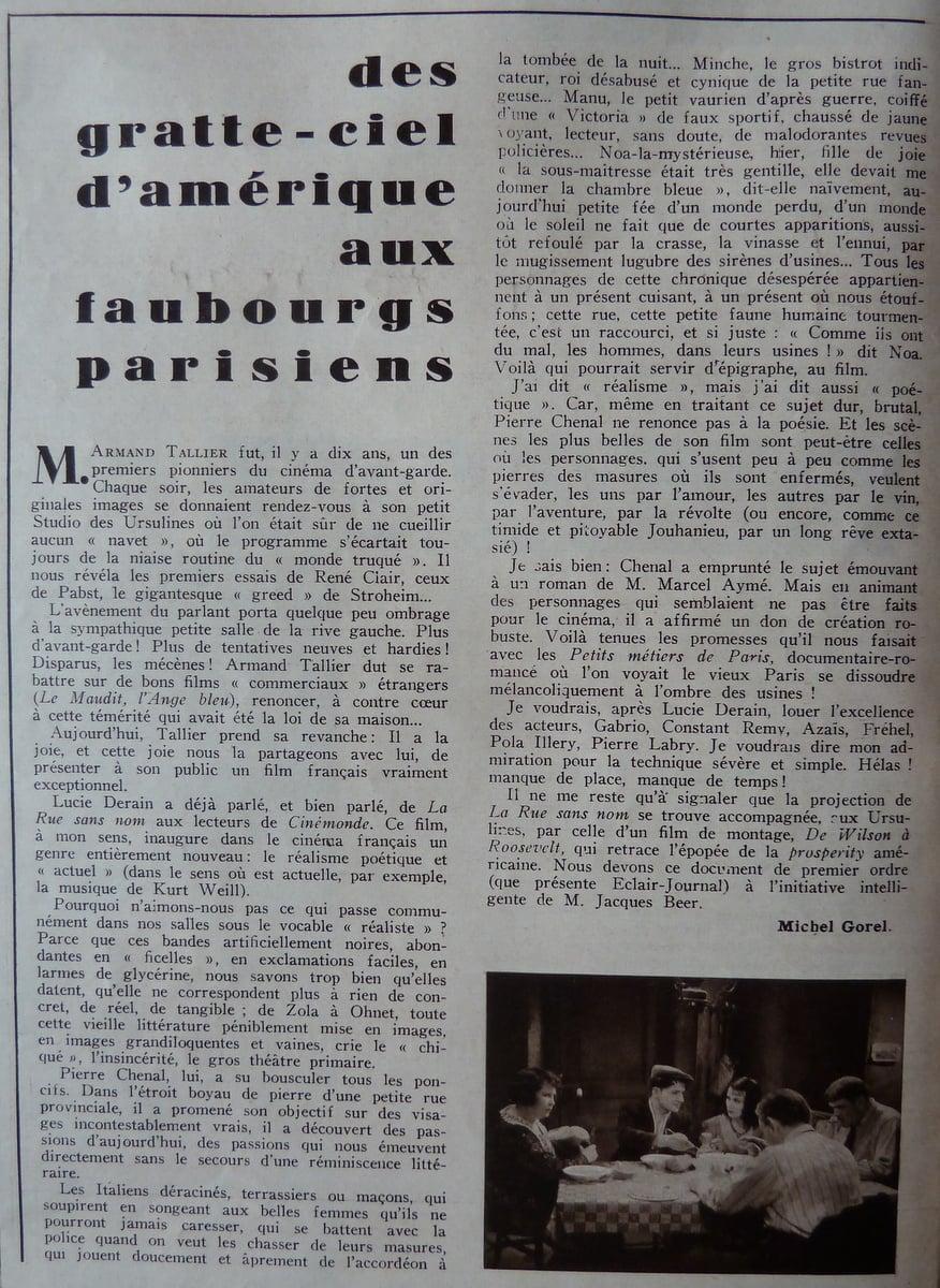 l'article sur La Rue sans nom (Cinemonde)