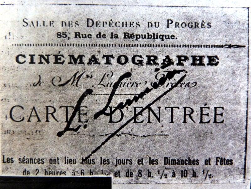 Carte d'entrée pour une séance du Cinématographe Lumière (Cinémonde 07.11.1935)