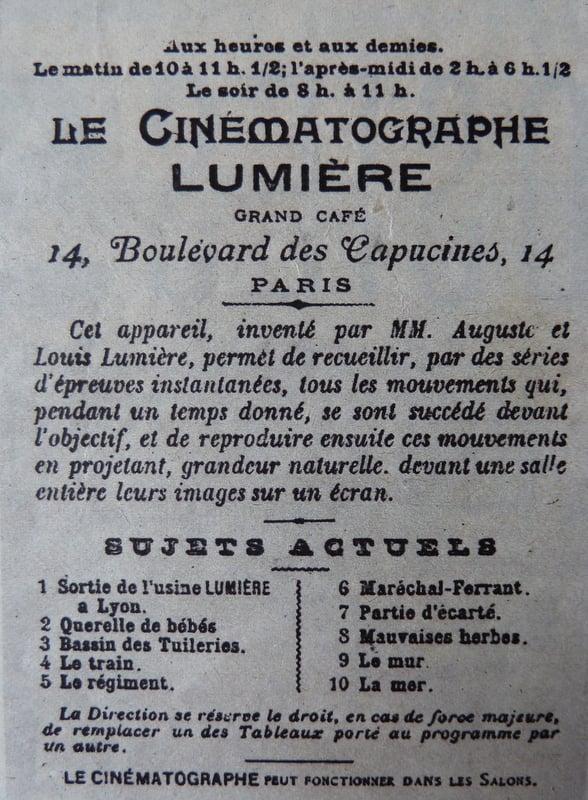 Publicité pour une séance du Cinématographe Lumière (Cinémonde 1935)
