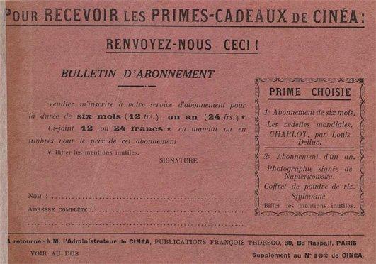 abonnement à la revue Cinea (1923)
