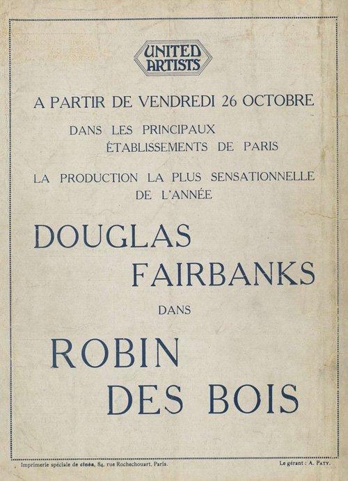 Publicité pour Robin des bois avec Douglas Fairbanks (1923)