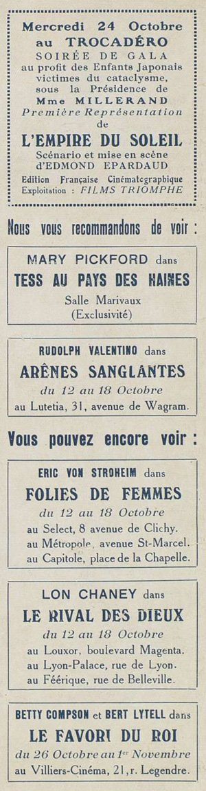 Publicité pour divers films projetés à paris (1923)