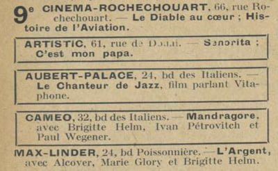 Le Chanteur de Jazz à l'Aubert-Palace (Paris)
