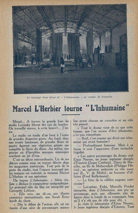 Tournage de L'Inhumaine (Cinémagazine 9.11.1923)