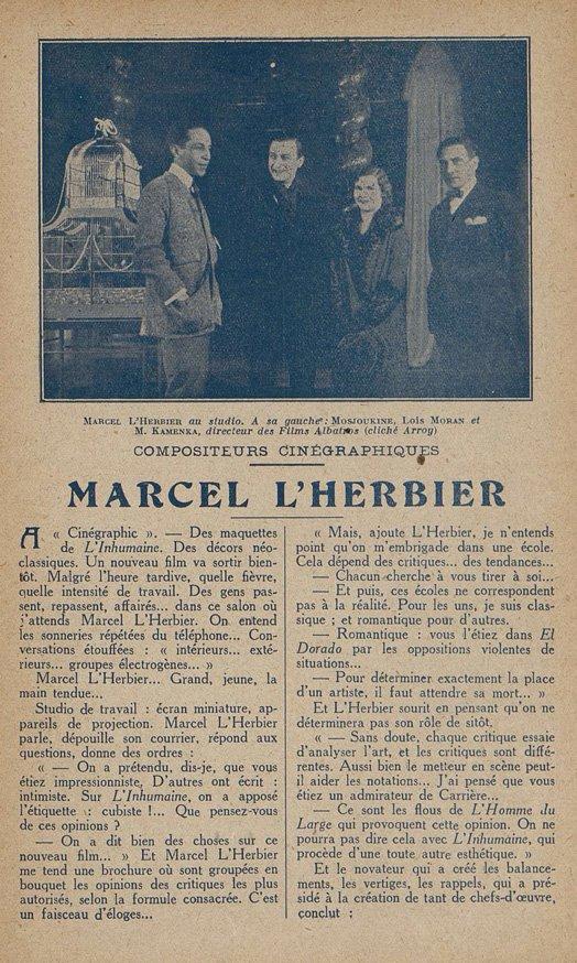 Entretien avec Marcel L'Herbier (Cinémagazine 02.01.1925)