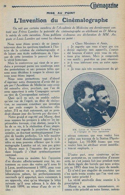 Texte des frères Lumière dans Cinémagazine 1924
