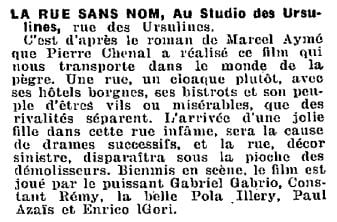 Chronique parue dans La Semaine à Paris en février 1934