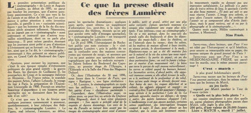Ce que la presse disait des frères Lumière (article)
