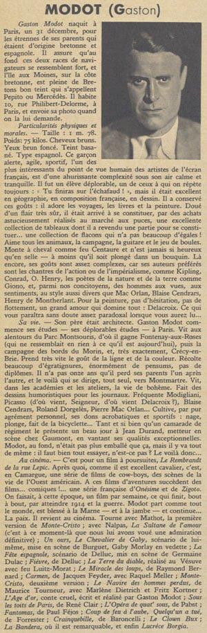L'article sur Gaston Modot paru dans Pour Vous (1935)