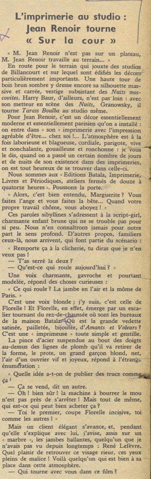 Jean Renoir tourne Le Crime de Monsieur Lange (Pour vous 1935)