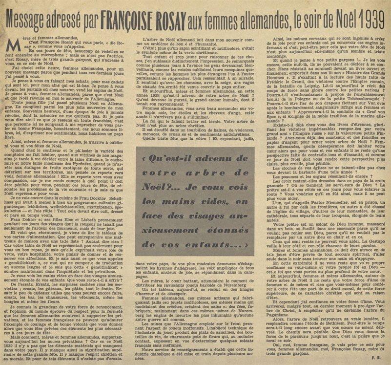 le texte de Françoise Rosay aux femmes allemandes, le soir de Noël 1939
