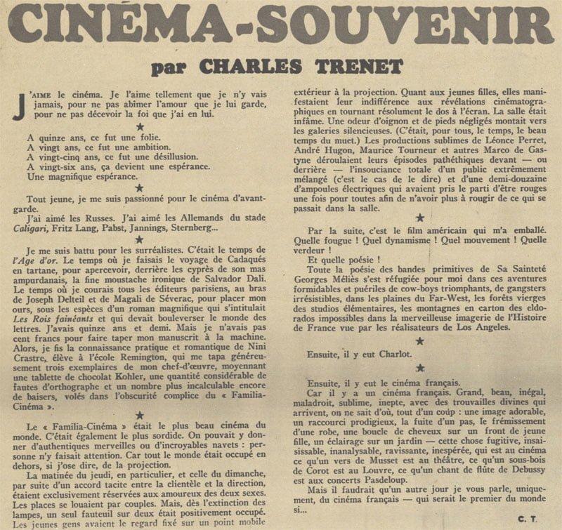 Cinéma-souvenir par Charles Trenet (1940)