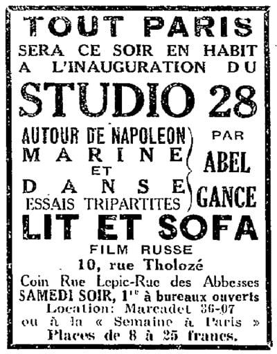 publicité pour l'inauguration du Studio 28 (Paris)