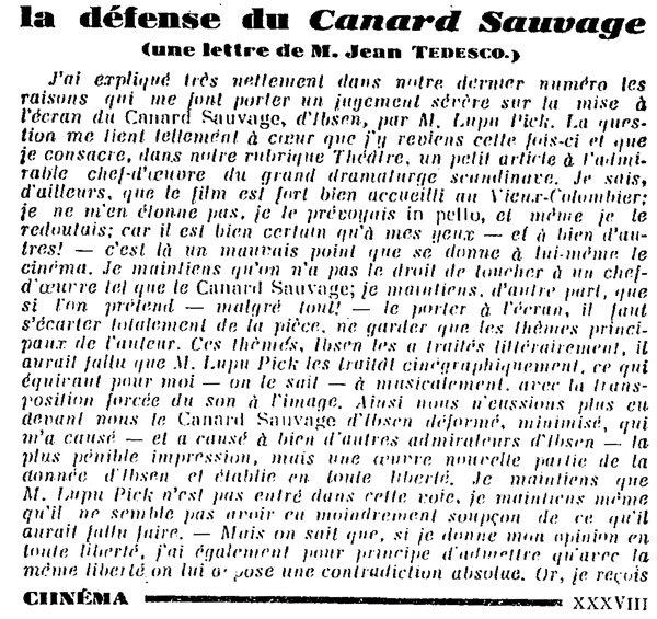 Jean Tedesco défend le film Le Canard Sauvage (partie 1)