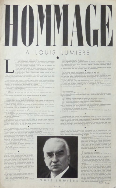 Hommage à Louis Lumière dans Cinémonde (21.11.1935)