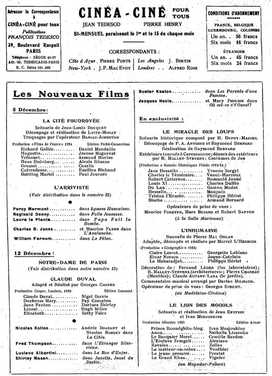 L'Inhumaine (Cinea-01.12.1924)