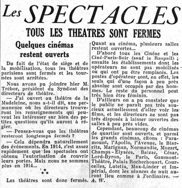 Le Figaro du 3 septembre 1939