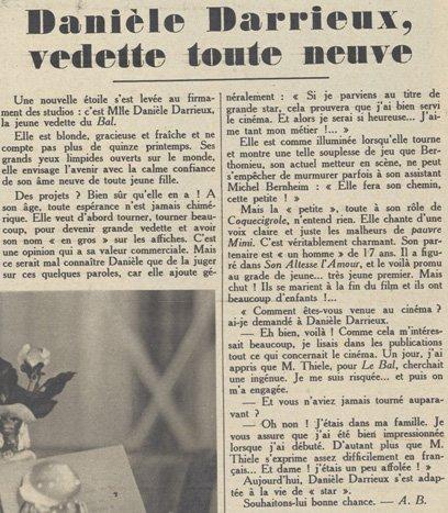 Article sur Danielle Darrieux (Pour Vous 01.10.1931)