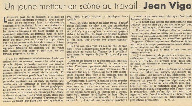 Article sur Zéro de conduite de Jean Vigo (Pour Vous 16.02.1933)
