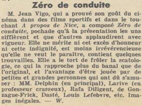 Chronique de Zéro de conduite de Jean Vigo (Pour Vous 20.04.1933)