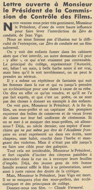 Article contre la censure de Zéro de conduite (Pour Vous 22.11.1934)