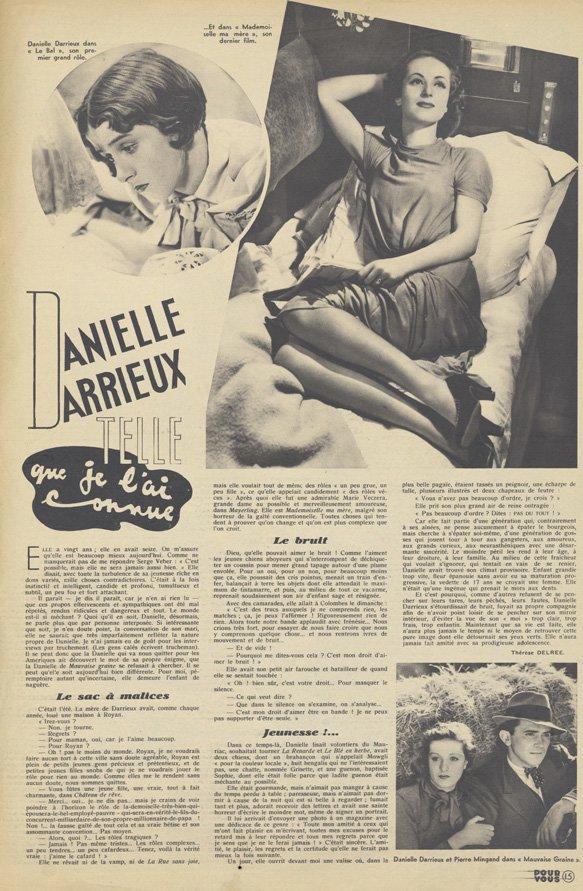 Article sur Danielle Darrieux (Pour Vous 12.08.1937)