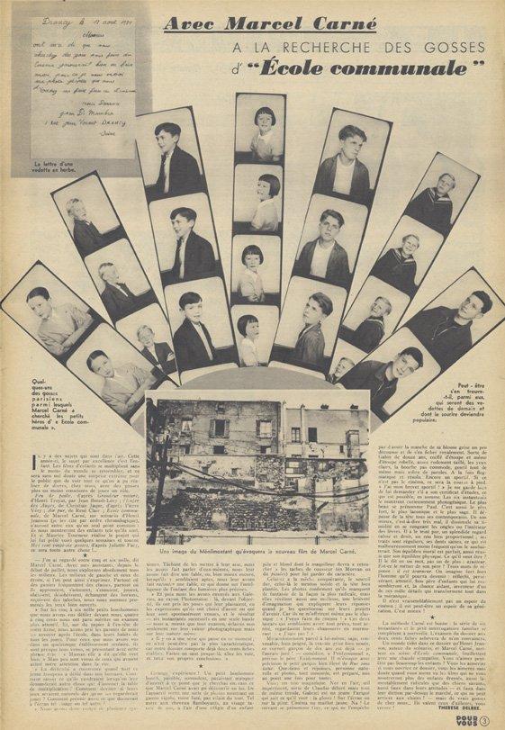 Article sur Ecole Communale de Marcel Carné (Pour Vous 30.09.1939