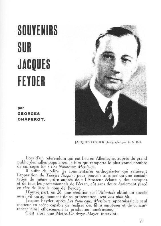 Article sur Jacques Feyder dans La Revue du Cinéma (1930)