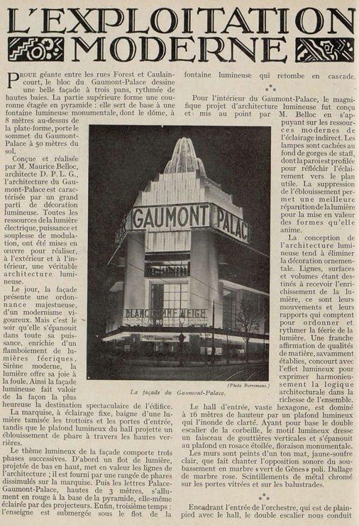 Article sur Le Gaumont-Palace (Cinémagazine novembre 1931)