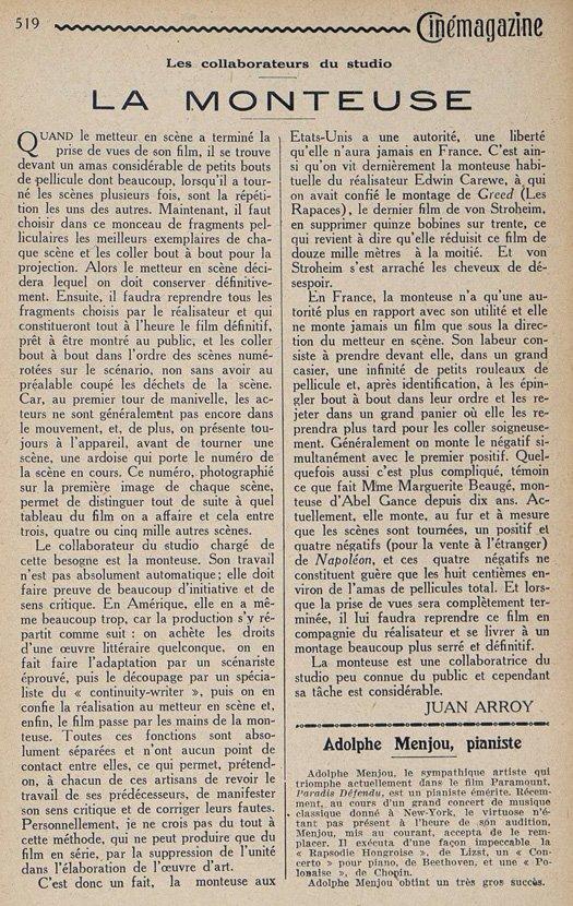 La Monteuse (Cinémagazine 1925)