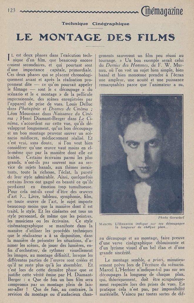 Le montage des films (Cinémagazine 1927)