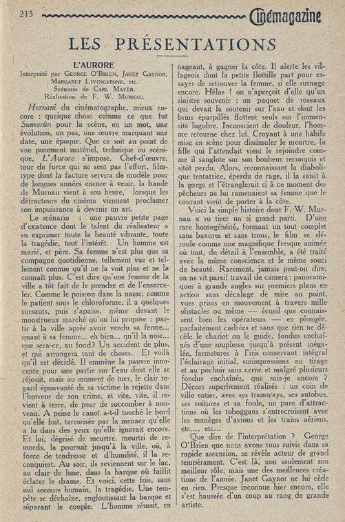 Critique de l'Aurore (Cinemagazine 1928)