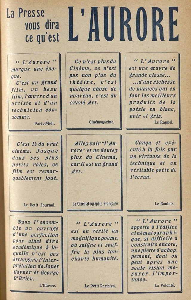 diverses critiques de l'Aurore (Cinémagazine 1928)