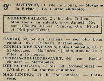 Sortie L'Aurore au Max Linder (Cinémagazine 1928)