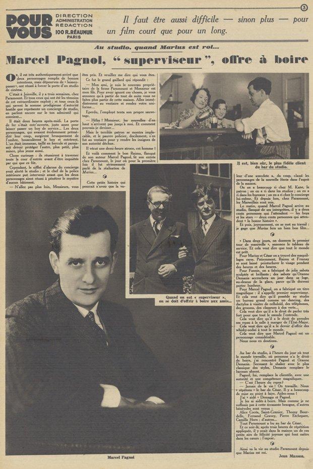 Article sur le tournage de Marius, Marcel Pagnol (Pour Vous 1931)