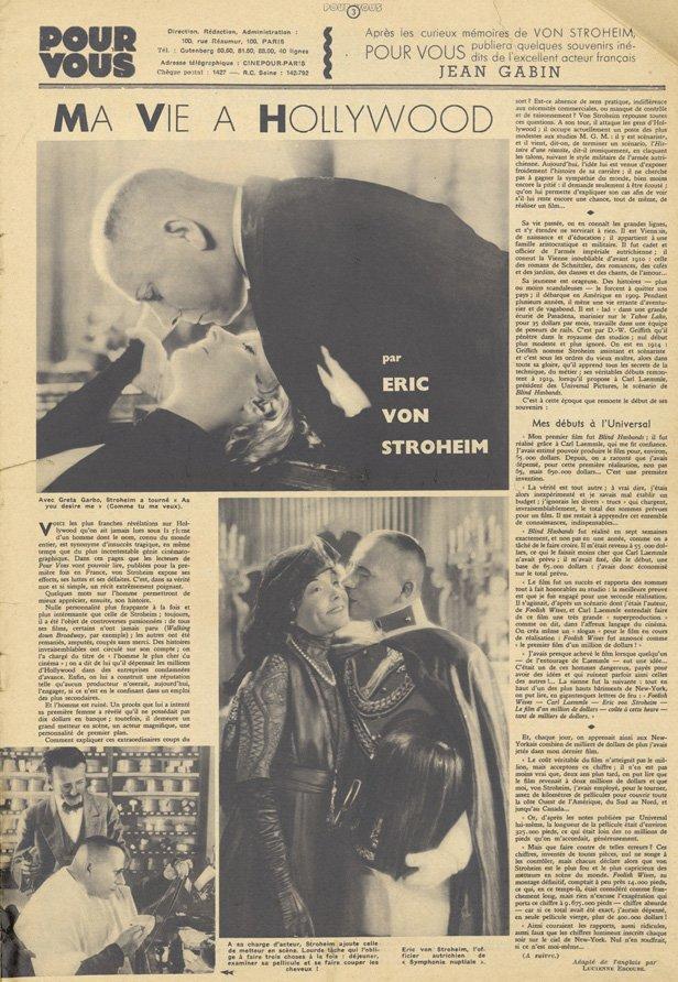 Ma Vie à Hollywood par Eric von Stroheim (Pour Vous 1935)