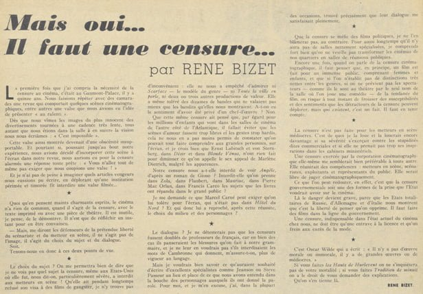 Article de René Bizet pour la censure (Pour Vous 1939)