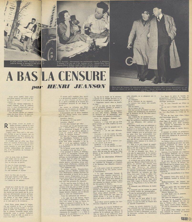 Article d'Henri Jeanson sur la Censure (Pour Vous 1939)