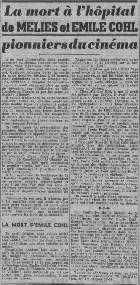 Nécrologie de Méliès et Emile Cohl dans Ce Soir du 23 janvier 1938