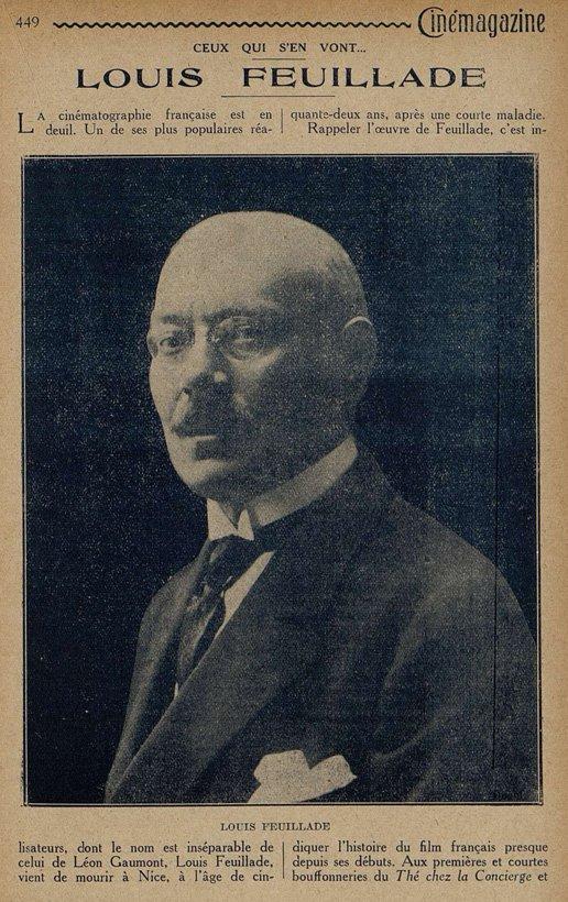 Nécrologie de Louis Feuillade (Cinémagazine 1925)