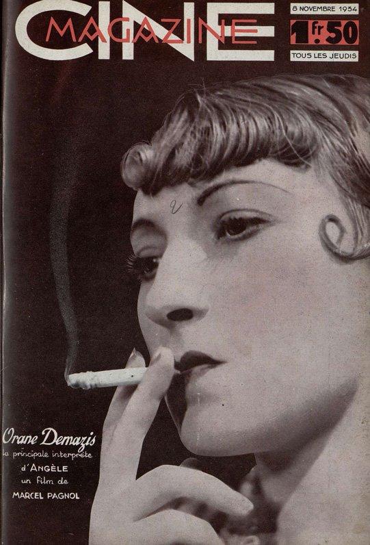 Portrait d'Orane Demazis en couverture de ce numéro de Cinémagazine 1934