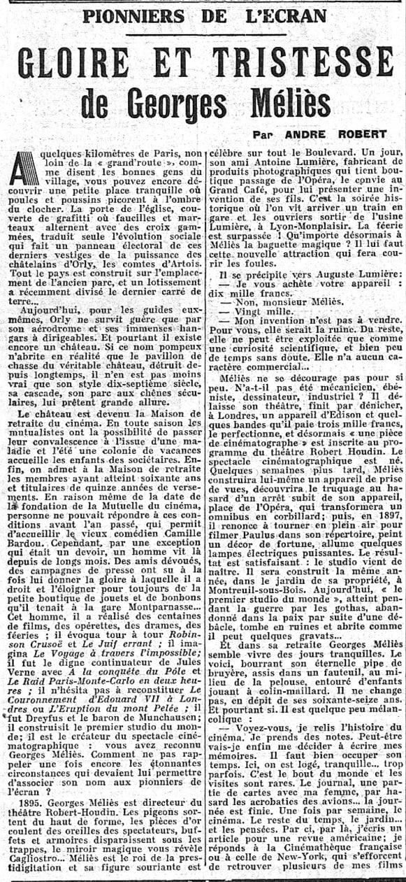 Georges Méliès dans Le Figaro 14.09.37