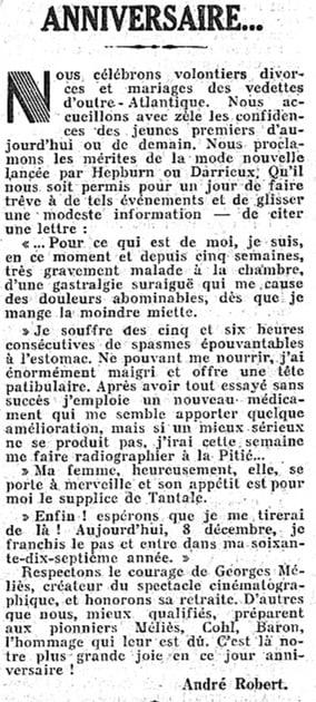 Lettre de Georges Méliès dans Le Figaro du 10 décembre 1937