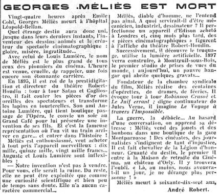 La mort de Méliès dans Le Figaro du 23 janvier 1938