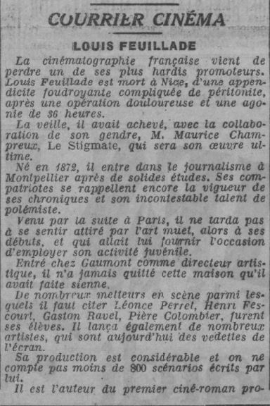 Nécrologie de Louis Feuillade (Paris-Soir 1925)