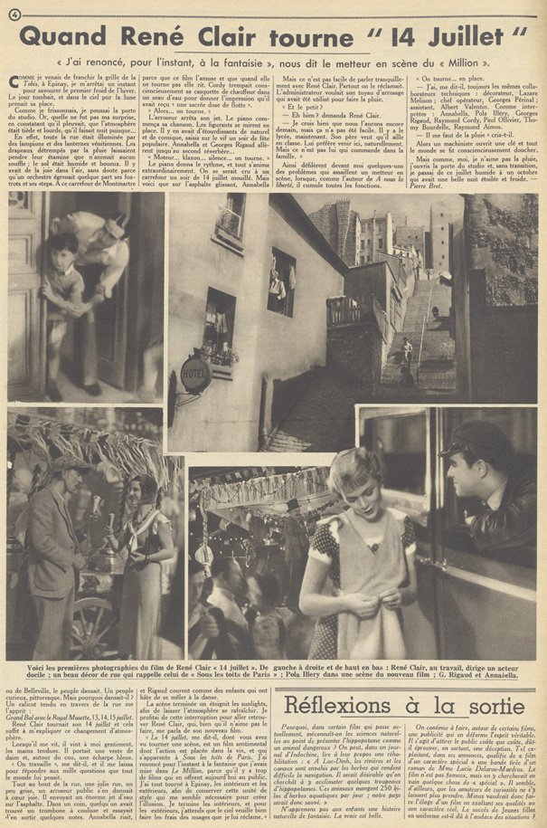 Quatorze Juillet de René Clair (Pour Vous 1932)