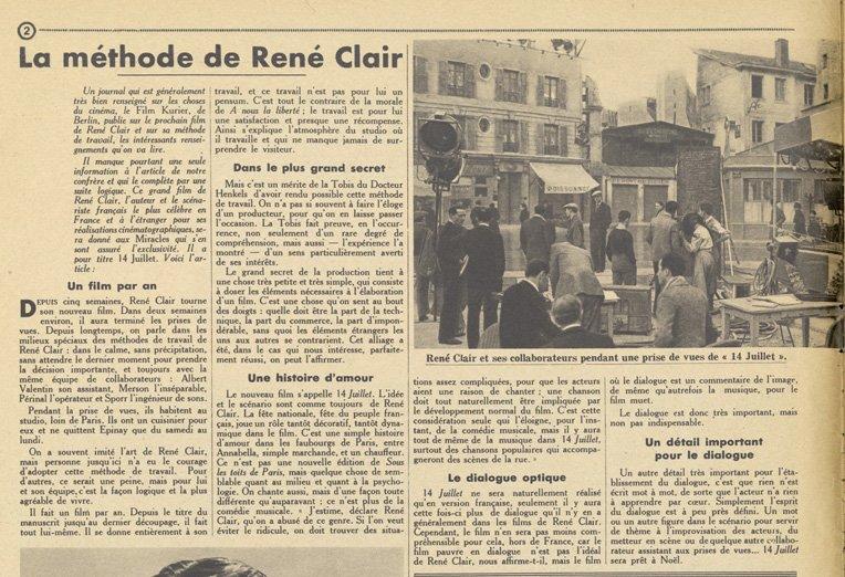 La méthode René Clair (Pour Vous 1932)