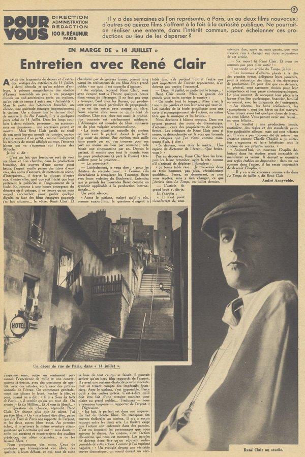 L'entretien avec René Clair (Pour Vous 1932)