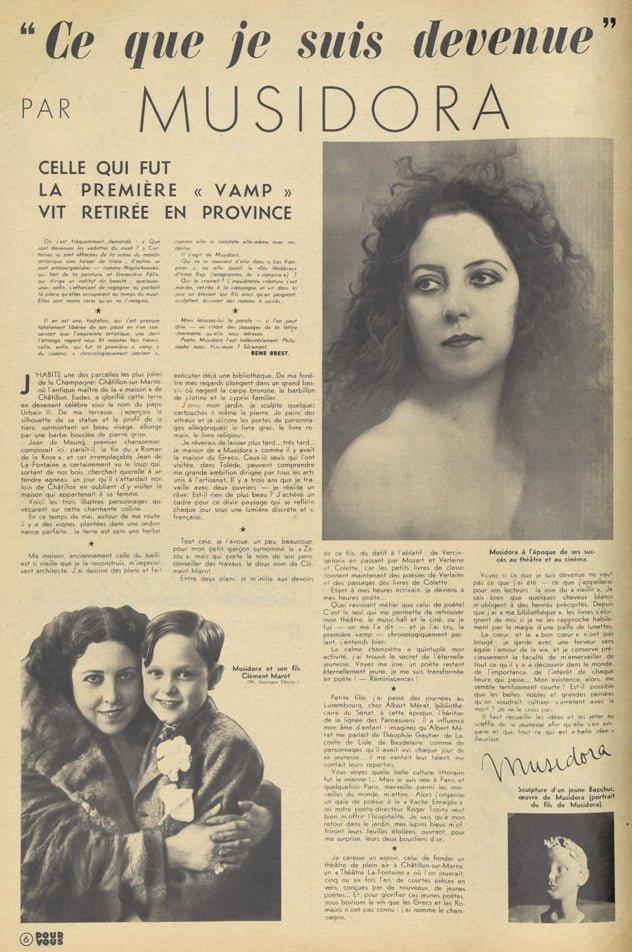 Lettre de Musidora dans Pour Vous 1938